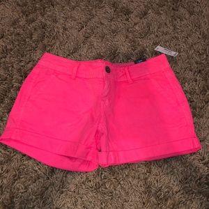 Neon Pink Midi Jean Shorts